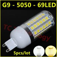 Ultrabright G9 SMD 5050 LED Lamp 15W AC 220V-240V 69LED Warm White/White Corn Bulb For Christmas Lights Free Shipping 5pcs/lot