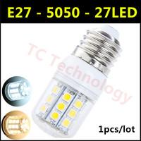 2014 Hot SMD 5050 E27 LED Lamp 3W 27led AC 110V-220V Warm White/White 360 Degree Light angel Corn Bulb For Christmas Lights