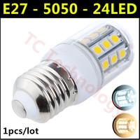 Free Shipping 2014 Ultrabright SMD 5050 E27 LED Lamp 3W 24led AC 110V-220V Warm White/White Corn Bulb For Christmas Lights