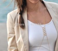 BK028 wholesale 6pcs/lot free shipping fashion simple bikini metal body chains jewelry long necklace
