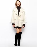 FREE SHIPPING new 2014 autumn winter Plus Size simple fashion Retro-style large lapel double pocket women wool coat S-XXL