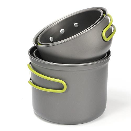 4Pcs Outdoor Camping Hiking Picnic Backpacking Cookware Cook Cooking Pot Bowl Set Wonderful Gift(China (Mainland))