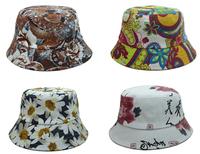 print FLOWER summer bucket hats for men  women hip hop fishing hats sun protection cap