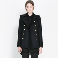 FREE SHIPPING new 2014 autumn winter Plus Size simple fashion Uniform style double pocket metal buttons women wool coat S-XL