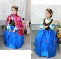 1set FROZEN Princess Anna Elsa Queen Girls Cosplay Costume Party Formal Kids Dress Vestit vestidos de menina Children clothing