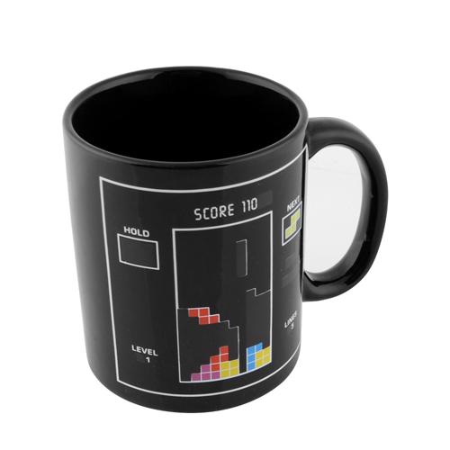 NEW Tetris Pattern Magical Heat Sensitive Color Change Water Milk Mug Coffee Cup Wonderful Gift(China (Mainland))