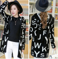 Fashion Autumn Winter Ladies Knitwear Long Sweater Mohair Top Clothes Hodded Letters Printted Women Knit Cardigan Outwear Coat