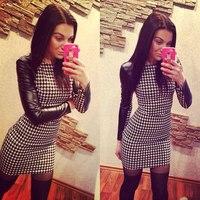 NXY33E#  Autumn And Winter Fashion Women Dress Long-Sleeve Slim Pencil Patchwork  Plaid  Dresses
