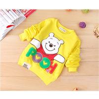 Fashion Children's Coats Baby BoyGirl Yellow/red/blue Cartoon Little Bear Long Sleeve T-shirt Hoodies Sweatshirts Spring/Autumn