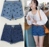 Personality 2014 summer older high waist Shorts Jeans Blue Pockets S to XL Fashion pockets young girls denim hot pants good look