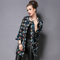 FREE SHIPPING 2014 new high-end Autumn winter Fashion flowers loose Jacquard embroidered wool coat temperament women coat S-5XL