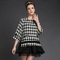 S-5XL brand higth quality antumn women fashion Houndstooth large piece tutu dress code cascading ruffle work dress plus size