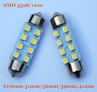 100pcs 31mm/36mm /39mm / 41mm 1210 /3528 8 SMD Car Auto Interior 8 LED 3528 SMD Light White Festoon Dome Lamp Bulb