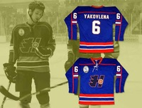 Doug The Thug Oleg Yakovlena #6 Halifax Highlanders Jerseys Hockey Jersey EMHL Patch White