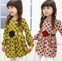 Baby Girl Cotton Dazzel Floral Sashes Fresh Dresses, Princess Kids Long Sleeve Clothing  Wholesale 5 pcs/lot,
