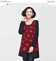 2014 Fat MM Slim New Plus Size Women Dresses Chiffon Mosaic Korean Backing Worn alone Stars Print O-neck Female Dress