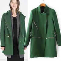 Fashion New Style Women's Long Coats Zipper Design Wool Blends Coat Trench Free shipping