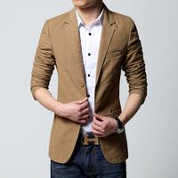 Mens casual blazer and jacket new korean fashion style 2014 black khaki brown slim fit hot sale free shipping