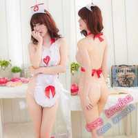 Free shipping sexy lingerie sexy cute love angel nurse apron dress halter straps pajamas uniforms Lutun seductive enchanting