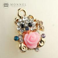 H258b Brand New 3pcs Cute Rose Crystal Bear Pendant Charm