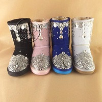 2014 new fashion handmade rhinestone snow boots women Winter Snow Boots