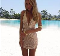 014 Golden sequins V plunging necklines Shorts hot Star Dress bandage mini bodycon dress frozen dress elsa dress