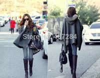 Winter new style women's fashion wool collars irregular cloak women ponchos silm coat loose coat