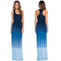 Women Dress Gradient Printed Sleeveless Round Collar Side Fold Designed Strapless Tank Top Floor-Length Sexy Evening Dress D558