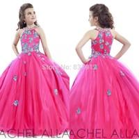 Fuchsia Princess Ball Gown Halter Flower Girls Dress 2014 Stunning Girls Pageant Dress Girls Prom Dress Fashionable vestidos