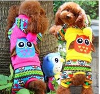 5pcs/lot 2014 factory Sale Pet dog cartoon Owl  thickness  winter  coat jacket hoody Jumpers snow coat XS-XL LP112901