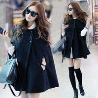 Fashion New Women's Wool Blended Caps Coats Asymmetric Jackets poncho Free shipping
