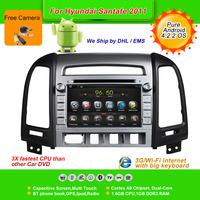 Pure Android 4.2.2  7''Car DVD Player for HYUNDAI SANTA FE 2011, AutoRadio,GPS,Navi,Multimedia,Radio,Ipod,Free Cam,Free shipping