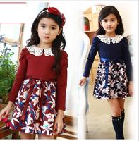 Baby Girl Lace Collar Pufff Sleeve Ribbon Bow Patchwork Dresses, Princess Kids Elegant Formal Lady Wear  Wholesale 5 pcs/lot,