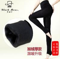 Black 2014 thickening slim legging plus velvet foot pants