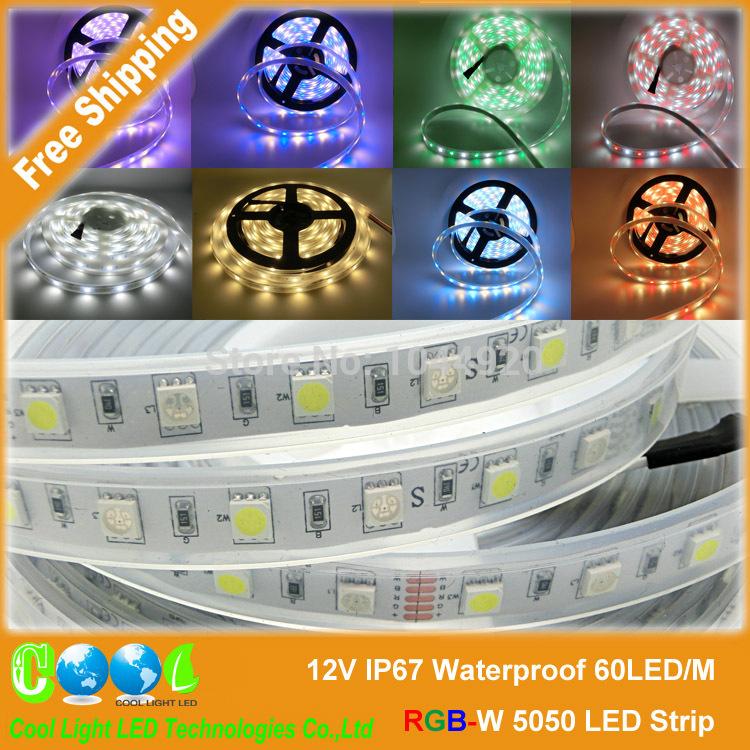 Dc12v IP67 водонепроницаемый RGBW 5050 из светодиодов полосы, 60LED / m, 300 светод. / roll, красивый цвет RGB + белый, RGB + теплый белый, 5 м/лот