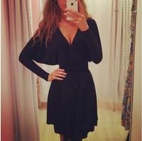 hot sale women dress The new autumn and winter 2014 women's fashion women's deep V-neck long-sleeved black dress Casual vestidos