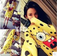 2014 SpongeBob cartoon images Polka Dot Dress Neck long sleeve pullover sweater coat female autumn