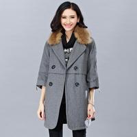 2014 Plus Size Women's Clothes Autumn/Winter New Fat MM Slimmer Europe Fur-trimmed Wool Coat Woolen Faux Fur Collar Overcoat