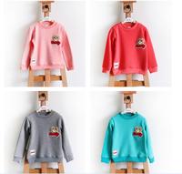 Fasion girt t shirt top & tees long sleeve shirt 4 color winter t-shirt child clothes boat anchor printed free shipping