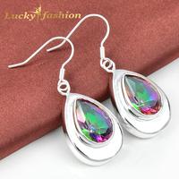 New Arrival Beautiful Water Drop Rainbow Mystic Crystal Topaz Drop Earrings+Factory Price For Women Wedding Jewelry