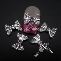 50pcs Glitter bow nail art silver rhinestones 3d bows nail art supplies MNS667S
