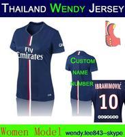 A+++ Women Thai Kit Ibrahimovic Lavezzi Matuidi Kit 2015 14 15 Lady Soccer Jersey Lucas De Futbol Maillot David Luiz Cavani