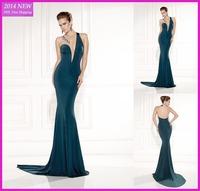 Tarik Ediz 2015 One Shouder Deep V-neck Sleeveless Formal Evening Dresses 2015 Deep Green Mermaid Vestido de festa  WY-044