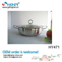 HY471 (30cm) Silver Korean Style Stainless Steel Portable Hot Pot Pan For Sale