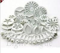 Free Shipping 33 pc Christmas Flower rose leaf petal set Cookie Cutter Fondant Tool Baking Cake Mold Decorating Press Pastry