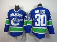 Free Shipping Men's Hockey Jersey Vancouver Canucks Jersey #30 Ryan Miller Ice Hockey Jersey Embroidery Logos Jersey