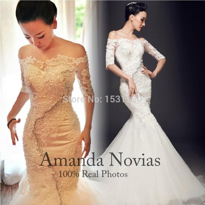 2014 novo modelo de luxo pérolas completa sereia vestidos de casamento Real fotos(China (Mainland))