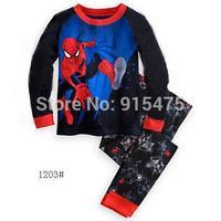 2015 New Arrival Spider-Man Pajamas 100% Cotton Baby Pijamas Kids sleepwear clothing Boys Pyjamas Children's wear 6set/lot