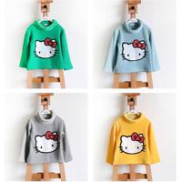 children's clothing Cartoon hello kitty 100% Cotton Long sleeve girls clothing  turtleneck Sweater girls t-shirt