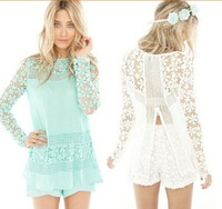 Free Shipping 2014 New Women Clothing Long Sleeve Vintage Blouse Inspired Crochet Sexy Lace Shirt Blusas Femininas S,M,L,XL